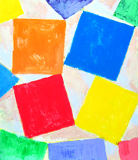 Square Gathering : geometric square pattern, geometric symbolism, lyrical abstraction, abstract colorful acrylic painting #1788, 2004 | Kazuya Akimoto Art Museum