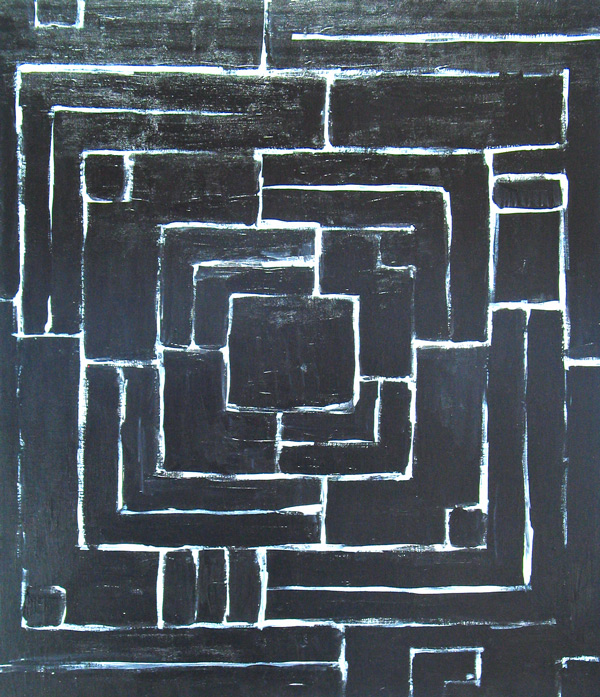 """""""Meticulous Black Maze"""" : Abstract, Black Minimalism"""