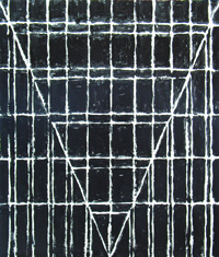 Black One-point Perspective : black minimalism, geometric, linear, one-point perspective, black, black and white,line pattern, abstract painting #1976, 2004 | Kazuya Akimoto Art Museum