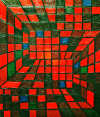 Red Square Domination : abstract geometric pattern, geometric line pattern abstraction, red square pattern, red square pattern, plaid line pattern, acrylic interior painting #2089, 2004 | Kazuya Akimoto Art Museum