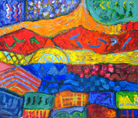 Country Holidays : colorful, vivid, gorgeous, complementary color combinations, imapsto, joyful, texture, abstract landscape, country life, countryside, expressionism, outdoor, abstract expressionism,country landscape scene,  lyrical abstraction, colorful abstraction, acrylic painting#2117, 2004 | Kazuya Akimoto Art Museum