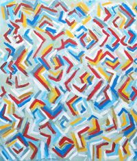 The Abstract Flooding of Letter L : abstract colorful element pattern ,geometric pattern, line pattern,  conceptual pattern, pattern of abstract elements, allover, acrylic painting #2207, 2004 | Kazuya Akimoto Art Museum