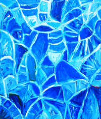 Abstract Blue Leaf Veins  : Abstract botanical leaf pattern, abstract natural pattern, allover pattern symbolism painting, blue monochrome, abstract blue art, blue color symbolism painting, abstract blue leaf texture, leaf vein pattern, abstract expressionism, abstract leaf, lyrical blue abstraction, acrylic paining #2327, 2004 | Kazuya Akimoto Art Museum