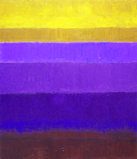 Abstract Purple Horizon : abstract purple gradation color fields geometric painting, complementary color gradation pattern, abstract sea, rectangular, geometric, abstract landscape, abstract nature pattern, colorful minimalism, horizontal pattern, acrylic painting #2436, 2004 | Kazuya Akimoto Art Museum