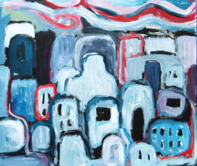 The Most Sinful City : abstract dark cityscape, expressionism cityscape, thick line pattern, brush stroke pattern, abstract urban scene, abstract streetscape, dark expressionism, city view, city scene, acrylic painting, #2539, 2004 | Kazuya Akimoto Art Museum