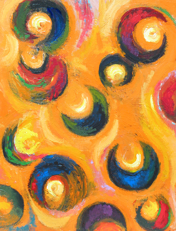 12 Black Crescents In The Orange Sky Abstract Geometric