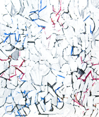 Abstract White Snow Flakes :allover abstract line cubism pattern, white color natural symbolism, abstract cubism, abstract line pattern, abstract white expressionism, acrylic painting # 4369, 2005 | Kazuya Akimoto Art Museum