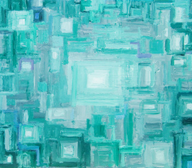 Rectangular Green Heart : geometric rectangle pattern, abstract light symbolism painting, green color symbolism, repetition, repeated and overlapped, rectangles with color value graduation pattern, subtle brush strokes, geometric expressionism painting #4375, 2005 | Kazuya Akimoto Art Museum