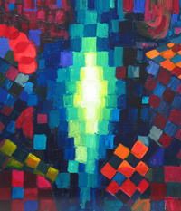 religious geometric pattern symbolism painting, abstract Buddha, abstract Dharma, Buddhism, contemporary religious theme painting, light symbolism, square, circle, patterns, checkered pattern, abstract acrylic painting #4403, 2005 | Kazuya Akimoto Art Museum