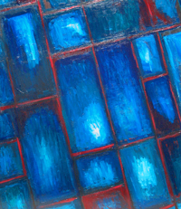 Abstract Blue Stained Glass : abstract stained glass image painting,  rectangular oblique pattern, slant rectangular window frame pattern, blue color symbolism, abstract blue, abstract windowpanes, abstract transparent blue, window symbolism, abstract interior acrylic painting #4412, 2005 | Kazuya Akimoto Art Museum