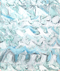 Abstract White Icebergs :abstract sea, abstract seascape, abstract natural scene, abstract iceberg pattern, white wave pattern painting, white color symbolism, white minimalism, abstract brush stroke pattern, random pattern, Acrylic painting #4417, 2005 | Kazuya Akimoto Art Museum