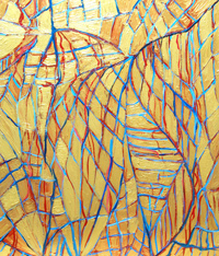 Metallic Human Arteries and Veins : abstract human anatomy painting, golden metallic soft line pattern painting, human anatomical symbolism painting, blue and red, soft lines, net pattern, linear expressionism, acrylic painting #4449, 2005 | Kazuya Akimoto Art Museum