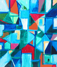 Abstract London Geometric Street View : abstract cityscape, abstract geometric pattern, rectangular, triangle, blue, red, pattern, abstract street view, geometric expressionism, acrylic painting #4457, 2005 | Kazuya Akimoto Art Museum