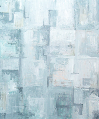 Abstract White Square Subtle Cubism Pattern  :Abstract cubism white subtle square pattern minimalist painting, white color symbolism, white on white cubism, square symbolism, abstract square minimalism pattern, acrylic painting #4491, 2005 | Kazuya Akimoto Art Museum