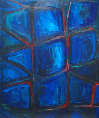 Prison Window : abstract interior theme acrylic painting, dark blue color symbolism, interior, architectural theme, abstract acrylic painting, abstract distorted cell pattern, environmental theme, night symbolism, acrylic painting #4526, 2005 | Kazuya Akimoto Art Museum