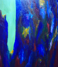 Blue Precipice : blue abstract landscape painting