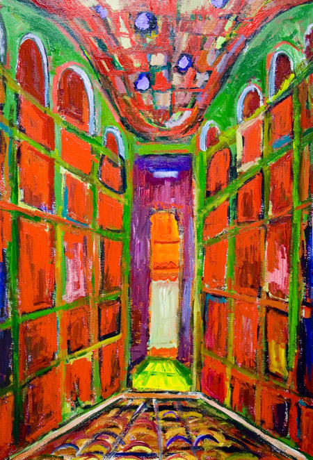 Chapel Entracne Expressionism Complementary Color Green And Red Religious Abstract