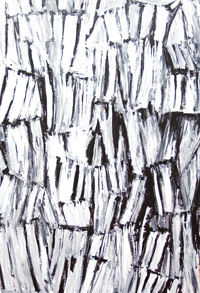 Vertical Bones : two-dimensional, piled/repeated found object, bricolage, assemblage, black and white, abstract acrylic painting #5296, 2006 | Kazuya Akimoto Art Museum