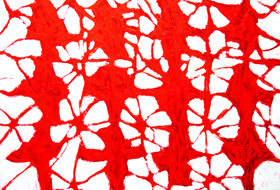 Red Propagation :lyrical abstraction, tachisme, red, stain, blot, abstract decorative, ornamental pattern, patterns, abstract expressionism, red cross stitches, repetition, allover, acrylic painting#5492, 2006 | Kazuya Akimoto Art Museum
