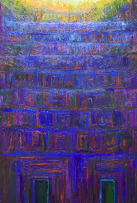 solemn, sacred, blue color symbolism, blue and yellow, serene, tranquil, complementary colors, religious, architectural symbolism painting, monumental entrance, facade, light and dark, sacred building theme, acrylic painting #5673, 2006 | Kazuya Akimoto Art Museum