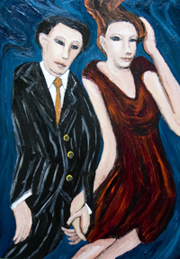Best Lovers : New, human figure, expressionism, figurative, distortion, distorted, young man and woman portrait, acrylic painting #6486, 2007 | Kazuya Akimoto Art Museum