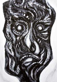 Black Curse – Carbonized Man : New, primitive, surreal, surrealism, distortion, distorted, male human face, black and white, dark, eerie, odd, strange,  symbolic, magic, sorcery, theme, acrylic painting #6498, 2007 | Kazuya Akimoto Art Museum