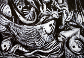 A Good Catch : new, Japonism, abstract, living thing, black and white, surreal, surrealism, expressionism, eerie, weird, odd, strange, fish, fishery, fishing, Japaniese traditional theme, abstract still life, nature morte, acrylic painting #6573, 2007 | Kazuya Akimoto Art Museum