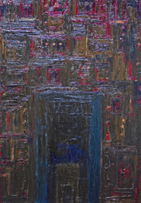 Old City Gate : New, architectural, historical, abstract building, texture, matiere, impasto, theme, cityscape, acrylic dark painting #6649, 2007 | Kazuya Akimoto Art Museum