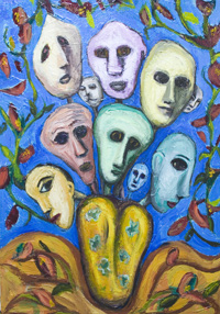 Family Reunion in a vase : New, raw art, art brut, colorful, odd, strange, human faces, whimsical, snaive, urreal, outsider, acrylic painting #6664, 2007 | Kazuya Akimoto Art Museum