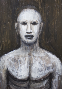 Golem : New, jewish, folklore, legendary, scary, eerie, weird, creature, black and white, painting�� surreal, surreaism, man, male, contemporary, realism, acrylic, monster theme painting #6745, 2007 | Kazuya Akimoto Art Museum
