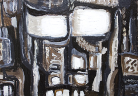 Primitive Detective : New, primitive, human face, scratched , scribbled, graffiti, expressionism, deforme, monotone, rough, human face acrylic painting #6784, 2007 | Kazuya Akimoto Art Museum