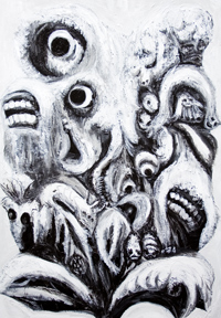 Real Monkey Flowers : New,  black and white, detailed, animal and flower surrealism, transformation, metamorphosis, surreal realism, monsters, distortion, odd, strange unusual creatures, animal and botanical, animals and plants, surreal chiaroscuro acrylic painting #6866, 2007 | Kazuya Akimoto Art Museum