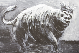 The Lord of the Pigs, walking cheerfully : New, black and white, odd, stange, weird, animal, surreal, personified odd creature, personification, surrealist, surrealism painting, anthropomorphous, anthropomorphism, anthropomorphized animal , facial expression, acrylic living thing painting #6955, 2007 | Kazuya Akimoto Art Museum