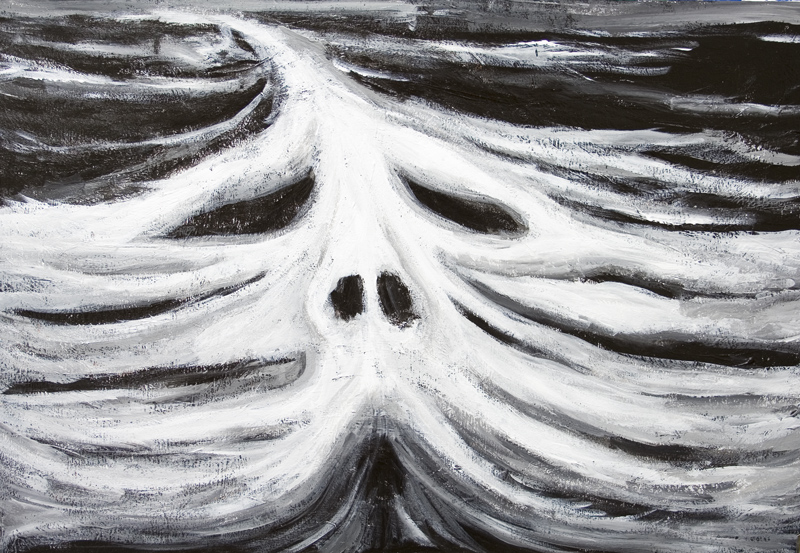 The Head of Leviathan : New biblical legendary sea monster, white mythological great sea monster at sea, dark winter seascape, face, head, facial symbolism, black and white surrealism acrylic painting #7046, 2008 | Kazuya Akimoto Art Museum