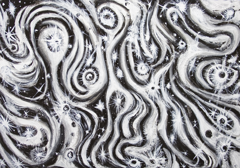 Abstract spiral galaxies newblack and white raw art black and white