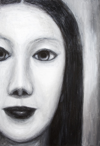 Japanese Female Vampire : New, black and white, contemporary new Japonisme, Japanese young woman surrealist facial portrait painting, surreal realism, contemporary mythological realism, contemporary chiaroscuro style, sfumato, human face symbolism, eerie facial expression, black and white female monster theme  surrealism, acrylic painting # 7389, 2008 | Kazuya Akimoto Art Museum