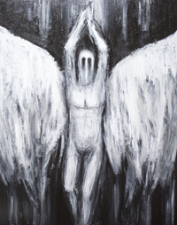 Lucifer the Morning Star, descending to the Abyss : New, dark biblical, literature theme, black and white, archangel portrait, The War of Heaven theme, Jewish, Islamic, Christian, mythology, mythological ,classical theological theme, contemporary surrealism, surreal realism, acrylic painting # 7431, 2008 | Kazuya Akimoto Art Museum