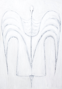 Dressed Isis : New, Egyptian symbolism, contemporary Isis portrait painting, white symbolism, white figurative line pattern, white human minimalism, abstract human religious symbolism, symmetrical painting, white symmetry, symmetrical human line pattern, abstract religious symbolism, symmetrical linear portrait, mythological pattern, mythological goddess, Egyptian goddess, legendary goddess, Egyptian myth theme, linear minimalism, mythological symbolism, contemporary Egyptian  goddess portrait painting #7790, 2008 | Kazuya Akimoto Art Museum