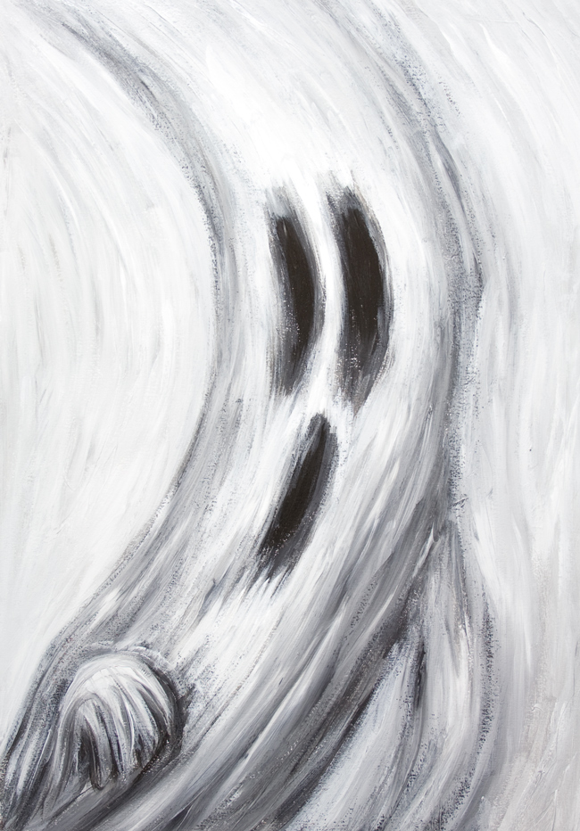 Ghost Frightened At His Own Shadow From The Moon New Japanese Manga Expressionism Painting