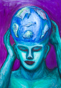Depressed Atlas : Greek mythological mythical theme, surreal green portrait painting, surrealism, abstract head, facial expressions, acrylic painting