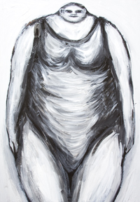 The Greatest Female Swimmer in her classic swimsuit : neo-expressionism, black and white raw art portrait, abstract human figure, female body symbolism, facial expression, figurative raw art, acrylic painting