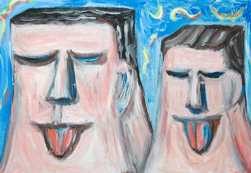 Very Embarrassing Father and Son :odd human facial expression, distorted faces, humorous expressionism, pop surreal family portrait painting