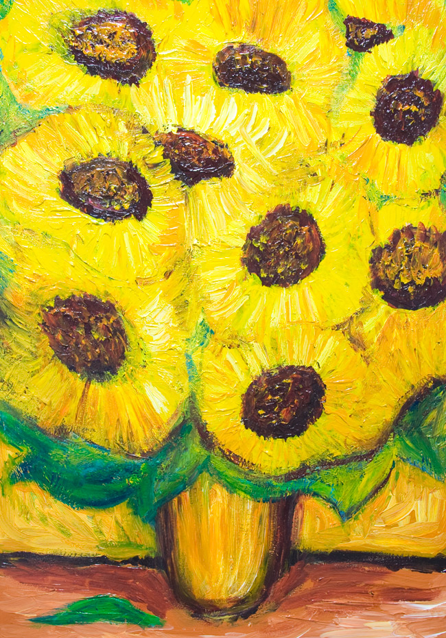 Abstract Sunflower Pattern in a Vase : abstract flower pattern painting on a theme by Van Gogh, abstract yellow pattern, impasto thick paint pattern, allover floral pattern, expressionism yellow flowers, acrylic painting #9172, 2010 | Kazuya Akimoto Art Museum