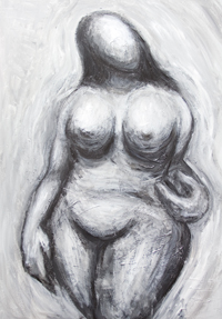 The Venus of Willendorf posing  : contemporary black and white posing woman portrait painting, abstract classics, ancient, archaeological figure, distorted human figure, abstract woman, sculptural female body symbolism, mother goddess, primitive expressionism, abstract ancient woman, posture, posing, acrylic painting #9254, 2010 | Kazuya Akimoto Art Museum