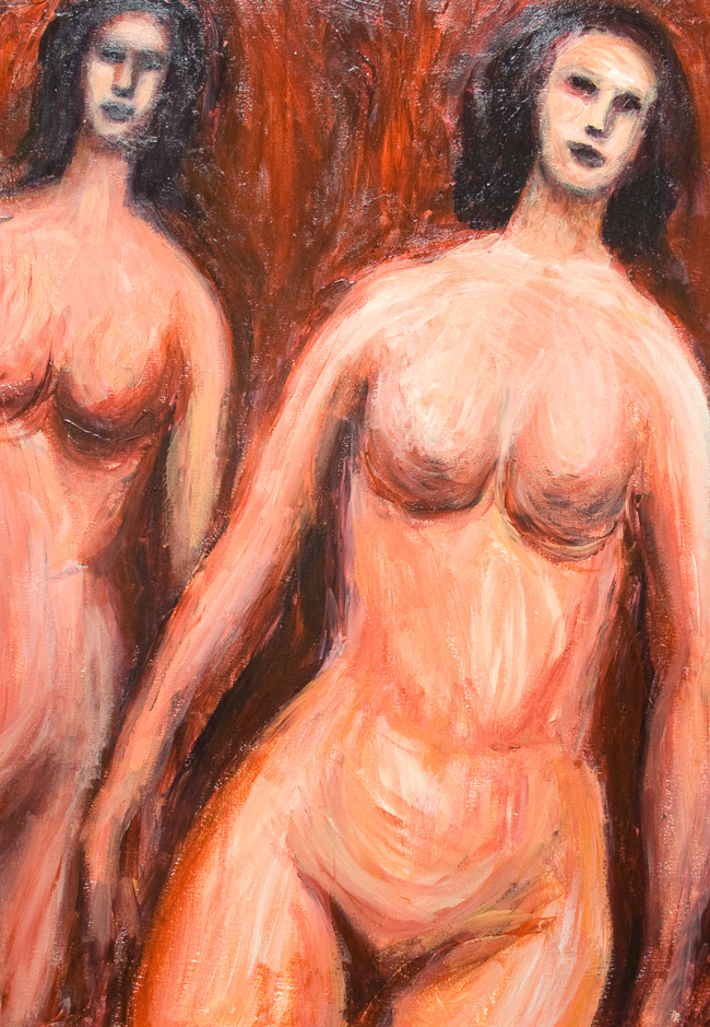 Japanese Two Top Models : expressionism, Japanese, Asian women portrait painting, slant, oblique figures, female body symbolism, expressionist portrait, acrylic painting #9283, 2010 | Kazuya Akimoto Art Museum