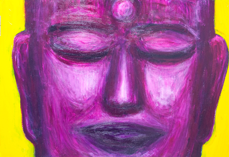 Purple Real Buddha New Pop Realism Buddha Icon Portrait Painting