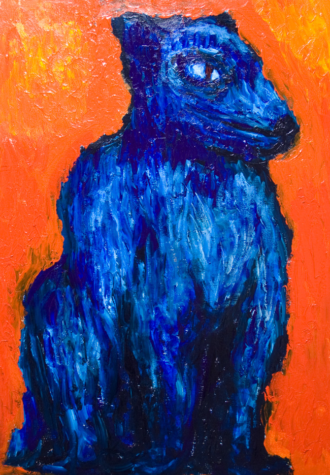One Headed Cerberus New Greek Roman Mythology Literature Art Theme Expressionist Dog Painting Abstract