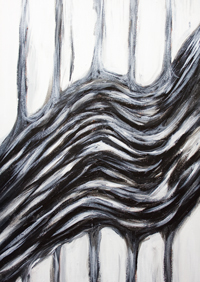 Black and white Abstract Bloodstream : black and white new abstract expressionism monochrome painting, physiological body system symbolism, abstract fluid flow pattern, biological expressionism, human body system pattern, abstract flow, acrylic painting #9544, 2011 | Kazuya Akimoto Art Museum