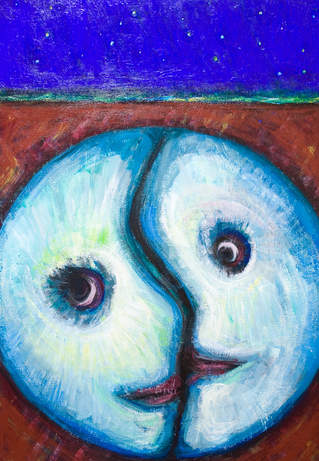 Moon Night Lovers Abstract Night Scene Love Theme Painting Naive