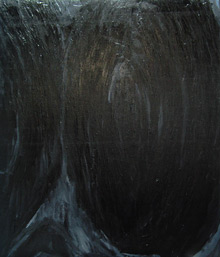 """The Black Bulge"": abstract gothic symbolism painting, contempoary black painting"